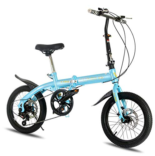 AOHMG Foldable Bike Lightweight Folding Bike, 6-Speed Dual Disc Brake City Folding Bike,Blue_16in