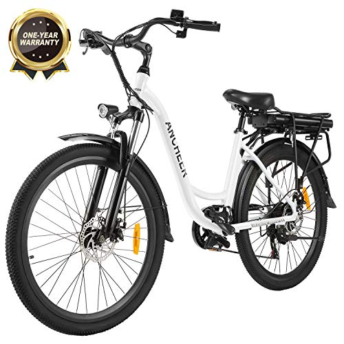 "ANCHEER 26"" Electric Bike, City Ebike Cruiser with Removable 12.5Ah Battery Integrated in Rear Frame 35 Miles Range Dual Disc Brakes (White)"