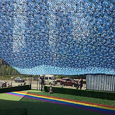 Shading Net Sunscreen Mesh Cover Shade Awning Camouflage Netting Military, Camo Netting for Building Army Shooting Camping Hunting Hide Coverage, Blue