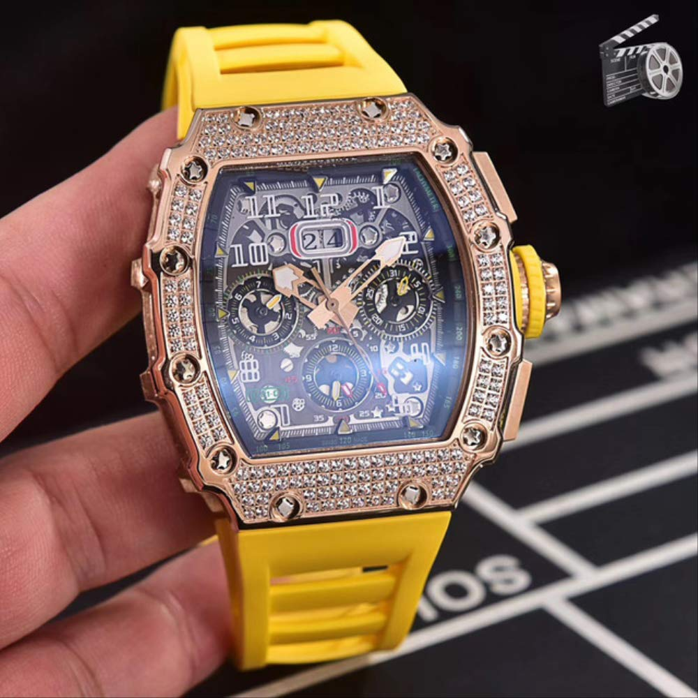 DMZZYGJR Black Red Rubber Men Watch Sapphire Automatic Mechanical Rose Gold Full Iced Diamonds Calendar Yellow