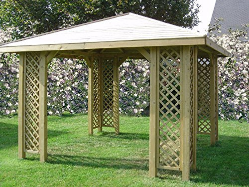2-DAY PREMIUM SHIPPING AVAILABLE 3m x 3m (Ex 3.5m x 3.5m) POSTS 70 x 70 GARDEN WOODEN PAVILION GAZEBO PERGOLA TUB + 12 x POSTS HOLDERS