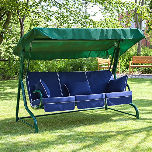 Alfresia Roma 3 Seater Swing Seat - Green Frame Navy Blue Cushions