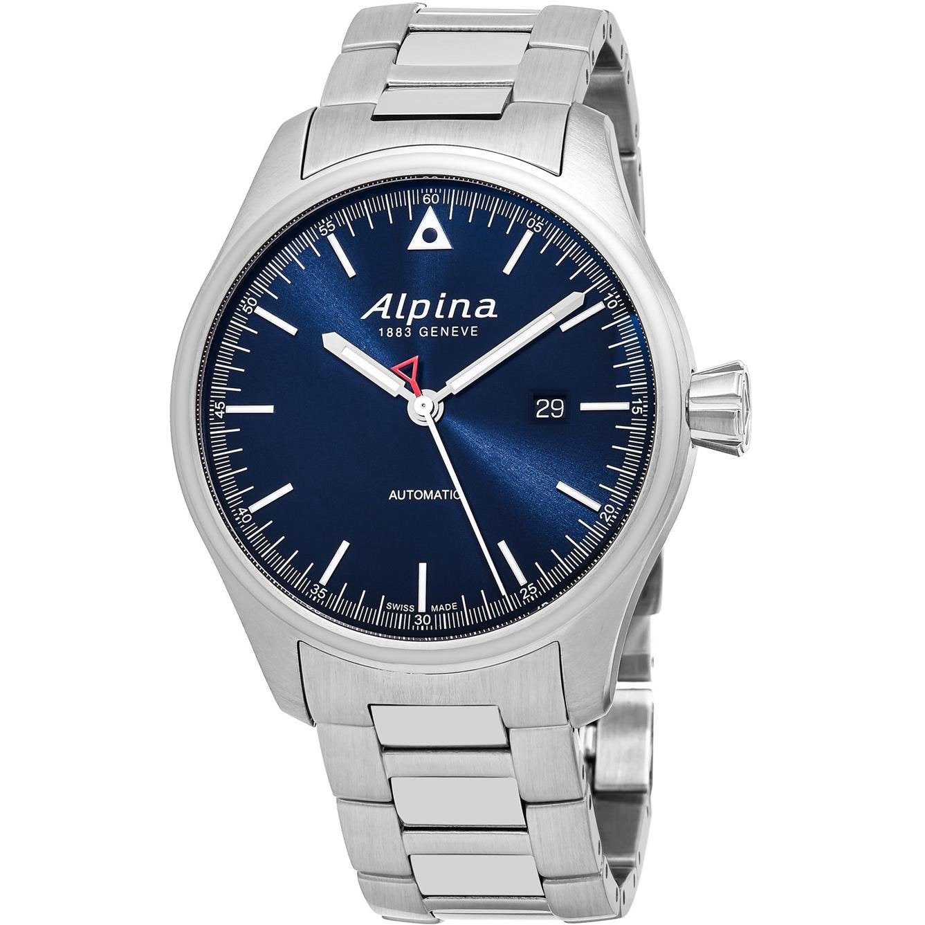 Alpina Startimer Pilot Navy Sunray Dial Stainless Steel Mens Watch AL-525N4S6B