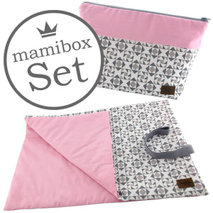 Windelbeutel + Wickelunterlage Mamibox Geo Rosa Grau