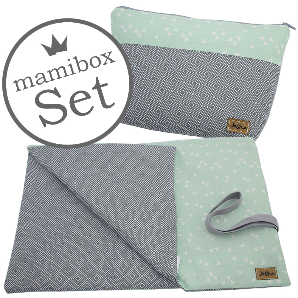 Windelbeutel + Wickelunterlage Mamibox Square Grau Mint