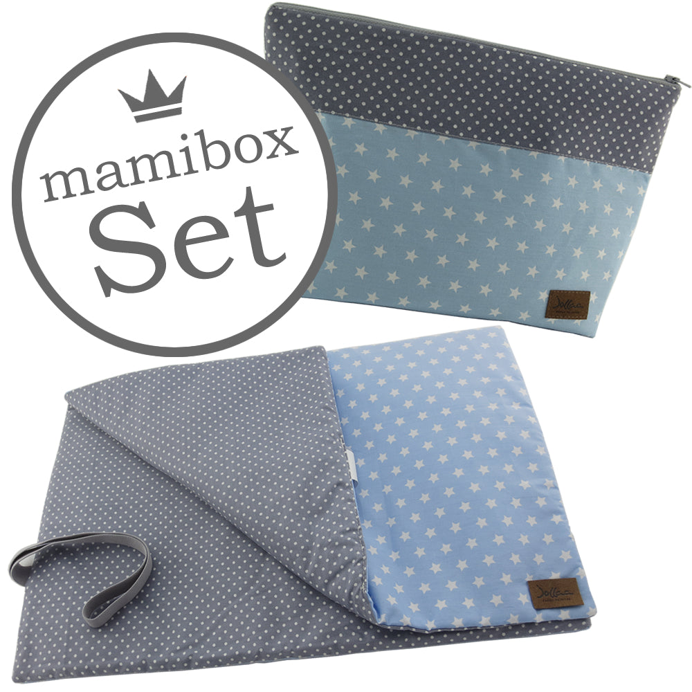 Windelbeutel + Wickelunterlage Mamibox Stern Blau Weiss