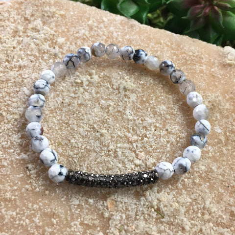 TEENIE BLING BAR |WHITE & BLACK CRACKLE AGATE