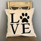 Love Paw Print Decorative Pillow