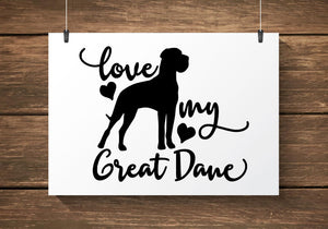 Love My Great Dane Car Decal/Sticker