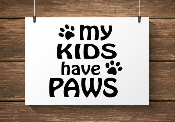 My Kids Have Paws Car Decal / Sticker
