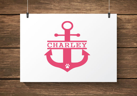 Custom Name Anchor Paw Print Car Decal