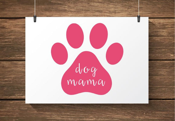 Dog Mama Paw Print Car Decal