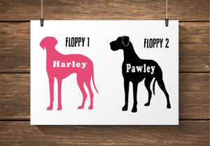 Custom Name Great Dane Car Decals