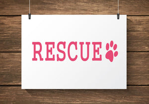 Rescue Paw Print Car Decal