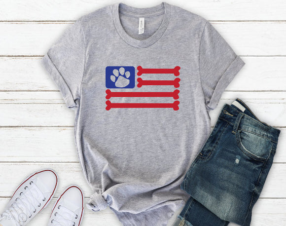 American Flag Paw Print Dog Bone Tee