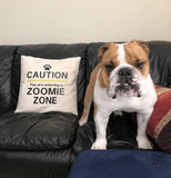 Caution Zoomie Zone Decorative Pillow