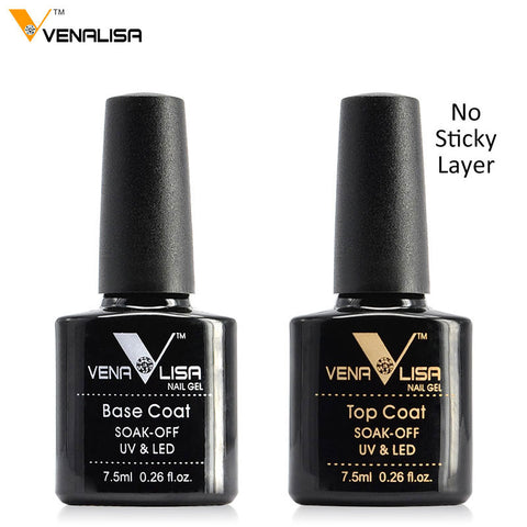 #61508 Venalisa Gel Nail 7.5 ml Top Coat Top + Base Coat Foundation for UV Gel Polish Best on Ali New Style Nail Lacquer Varnish