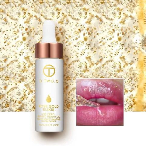 O.TWO.O 24k Rose Gold Elixir Skin Make Up Oil For Face Essential Oil Before Primer Foundation Moisturizing Face Oil Anti-aging