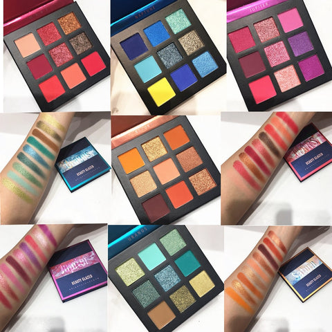 Beauty Glazed Makeup Eyeshadow Pallete makeup brushes 9 Color Palette Make up Palette Shimmer Pigmented Eye Shadow maquillage