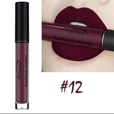 12 Colors Liquid Lipstick beauty Long lasting Matte Lip Gloss Waterproof Red Velvet Lips Tint Sexy lipgloss Nude Lip Makeup