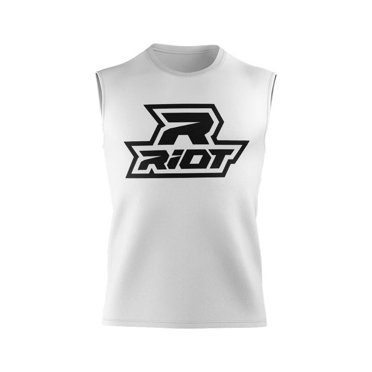 White Sleeveless Shirt with Riot Logo (Choose your logo color)