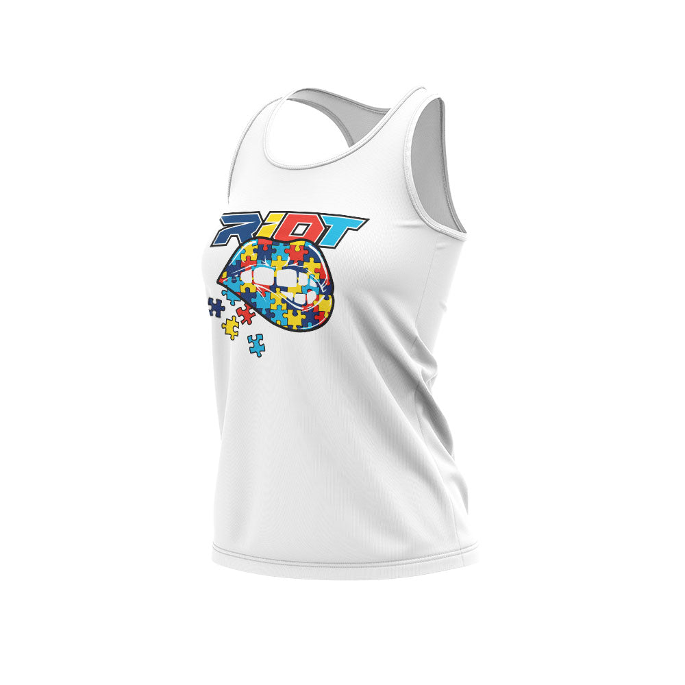 **NEW** White Women's Racerback with Autism Awareness Lips Riot Logo