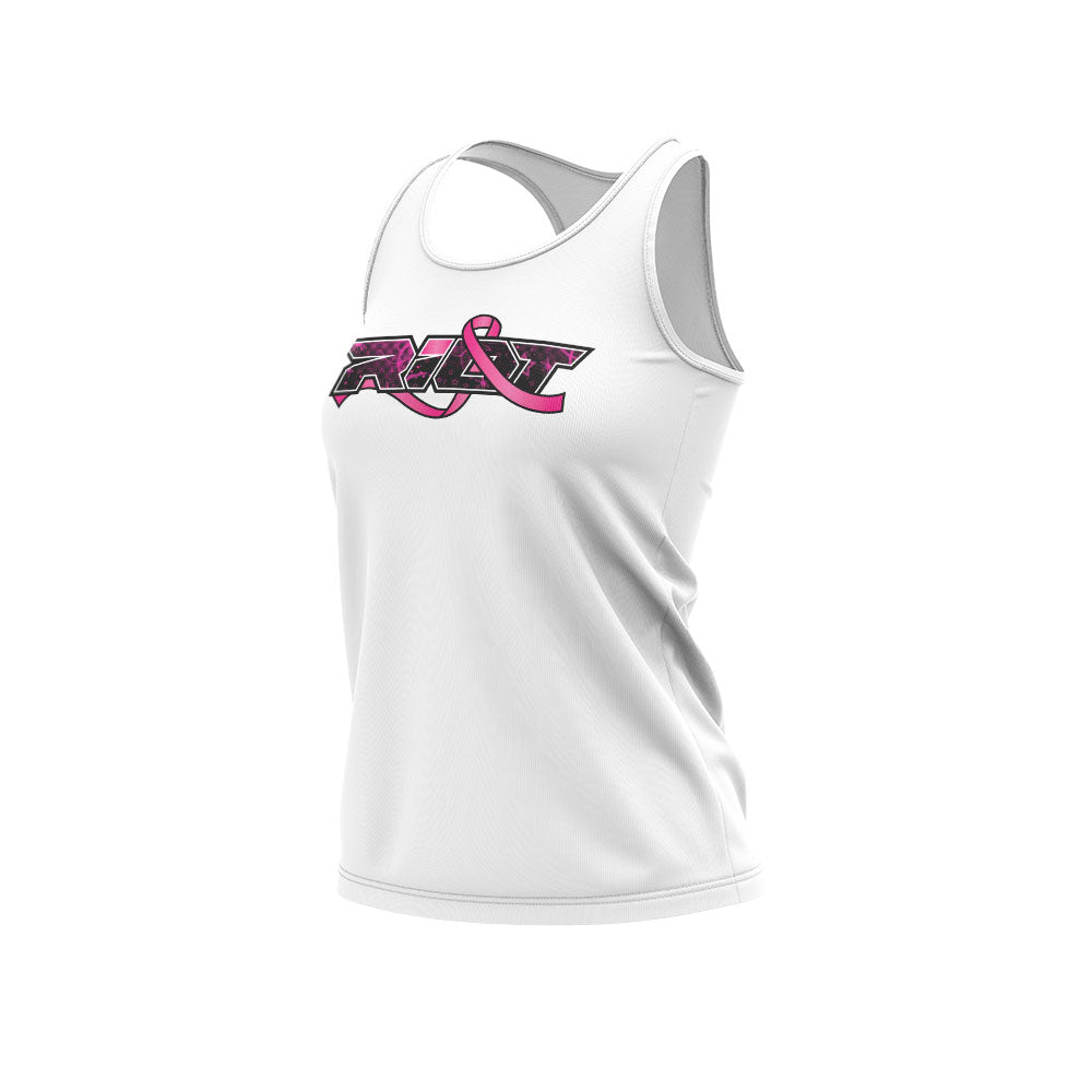 **NEW** White Women's Racerback with Breast Cancer Awareness Riot Logo