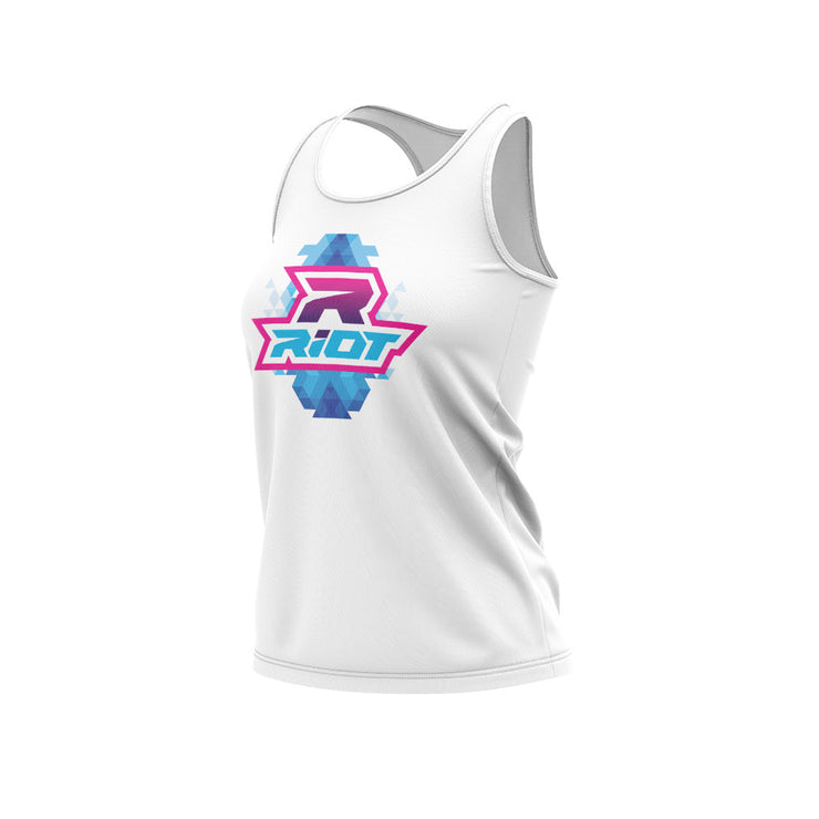 **NEW** White Women's Racerback with Diamond Riot Logo