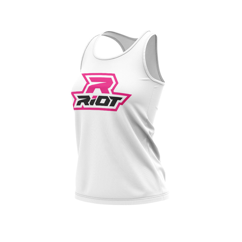 White Women's Racerback with Hot Pink Riot Logo