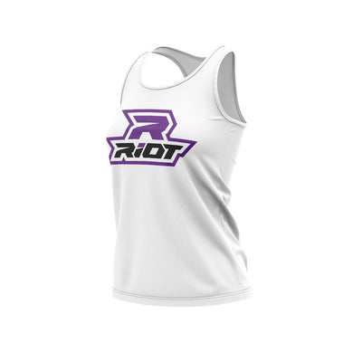 White Women's Racerback with Purple Riot Logo