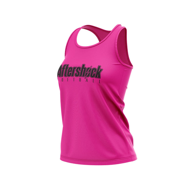 Neon Pink Women's Racerback Shirt with Aftershock 8U Black Logo