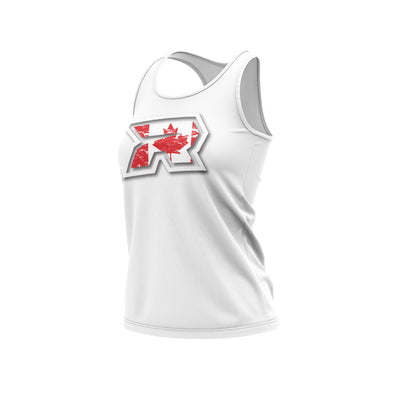 **NEW** White Women's Racerback with Canada White R Riot Logo