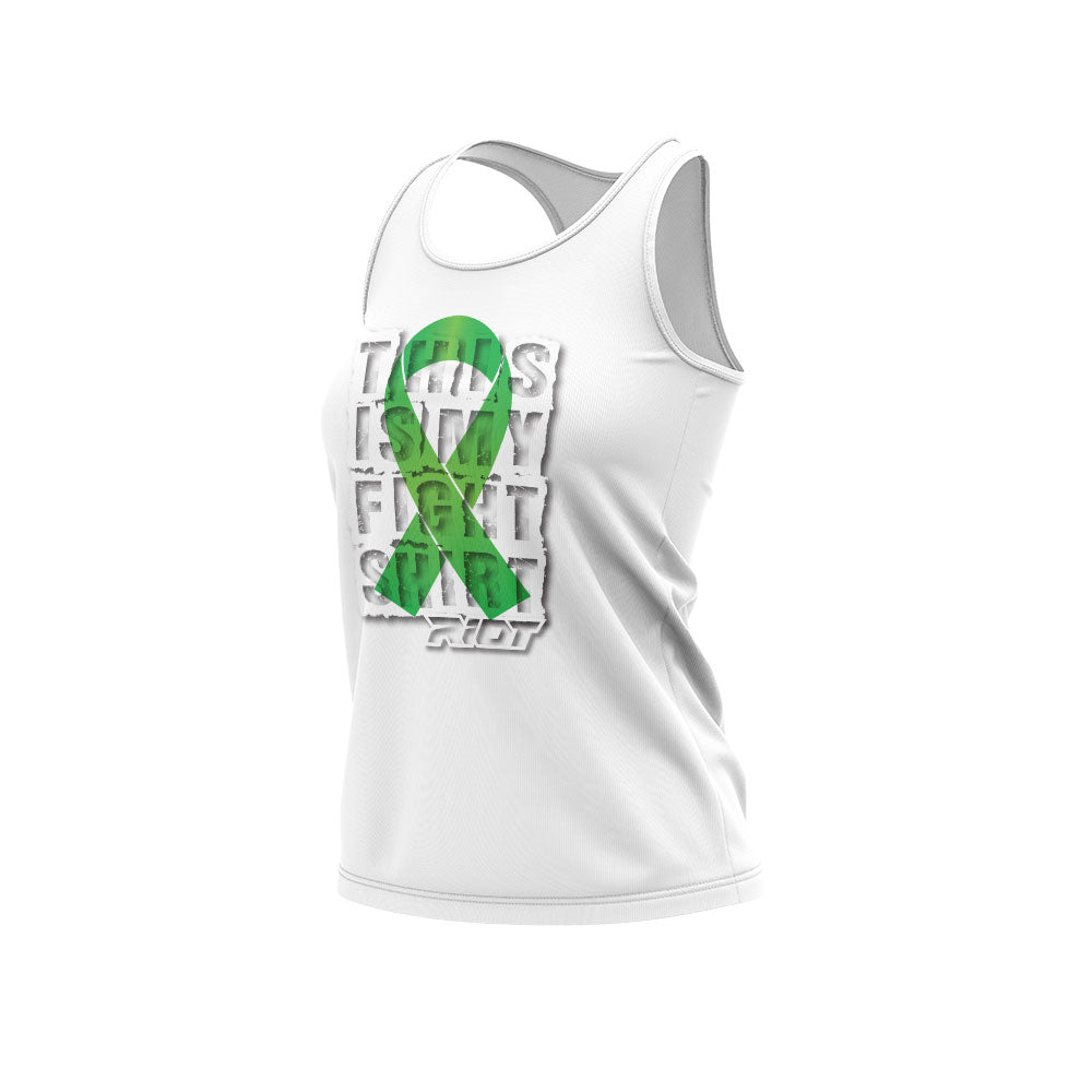 **NEW** White Women's Racerback Fight Shirt Riot Logo (choose your ribbon color)