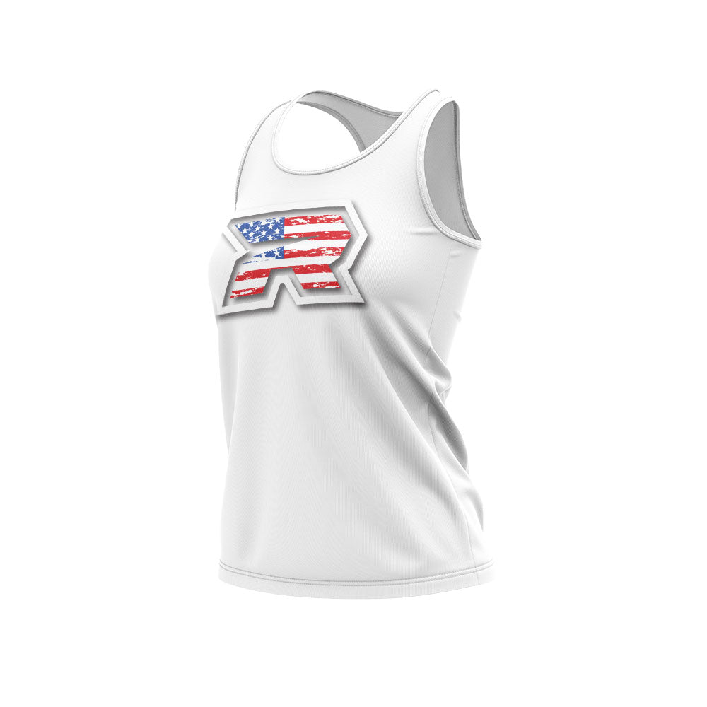 **NEW** White Women's Racerback with USA White R Riot Logo