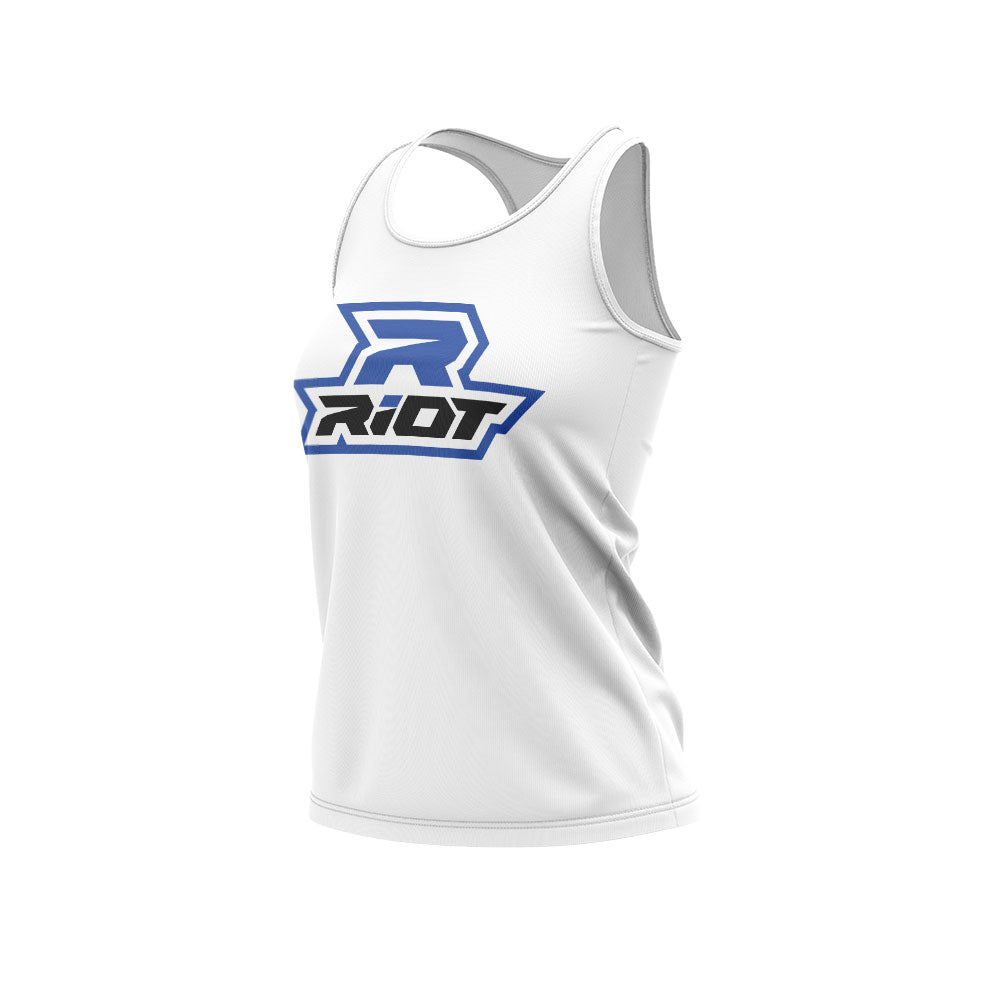 White Women's Racerback with Royal Blue Riot Logo
