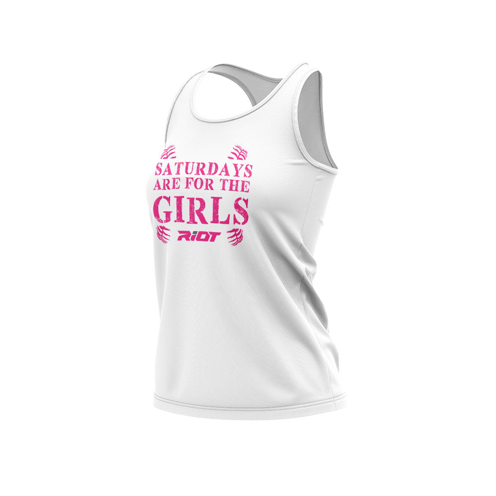 **NEW** White Women's Racerback with Girls Saturdays Riot Logo (choose your logo color)
