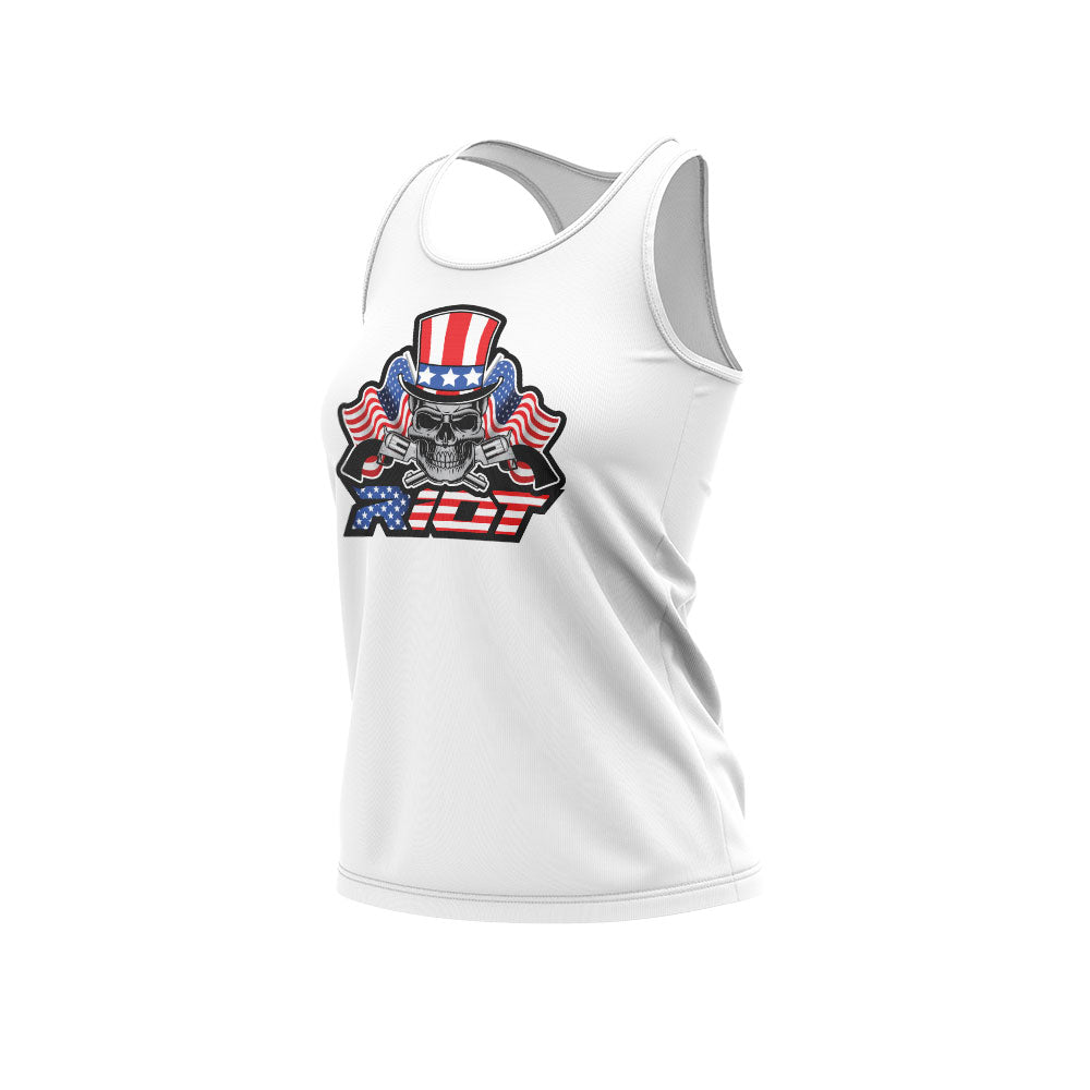 White Women's Racerback with USA Skull & Guns Riot Logo