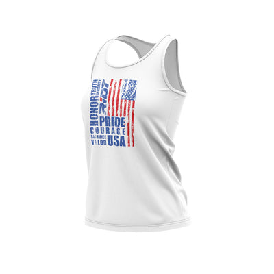 **NEW** White Women's Racerback with USA Honor Valor Pride Riot Logo