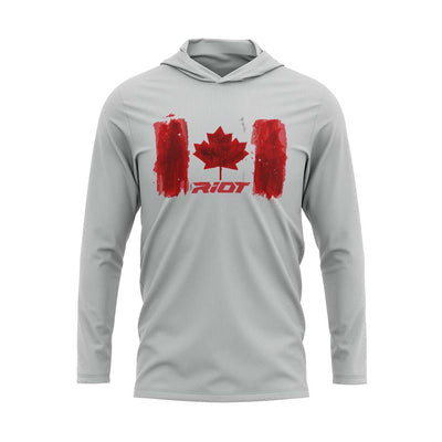 **NEW** Silver Hooded Long Sleeve Shirt with Riot Canada Watercolor Logo