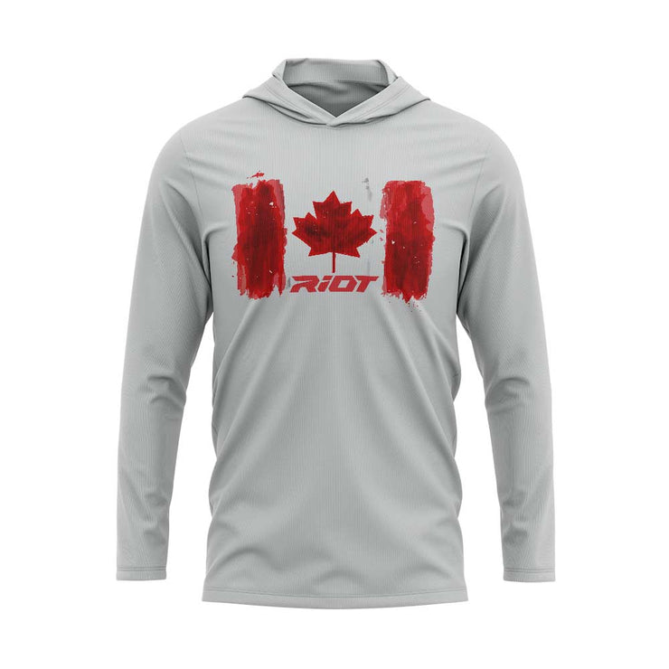 Silver Hooded Long Sleeve Shirt with Riot Canada Watercolor Logo