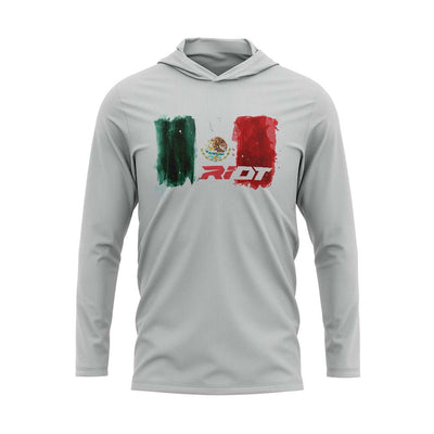 **NEW** Silver Hooded Long Sleeve Shirt with Riot Mexico Watercolor Logo