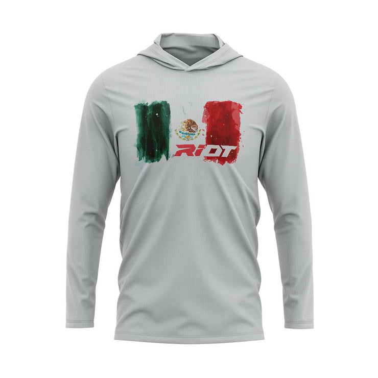 Silver Hooded Long Sleeve Shirt with Riot Mexico Watercolor Logo