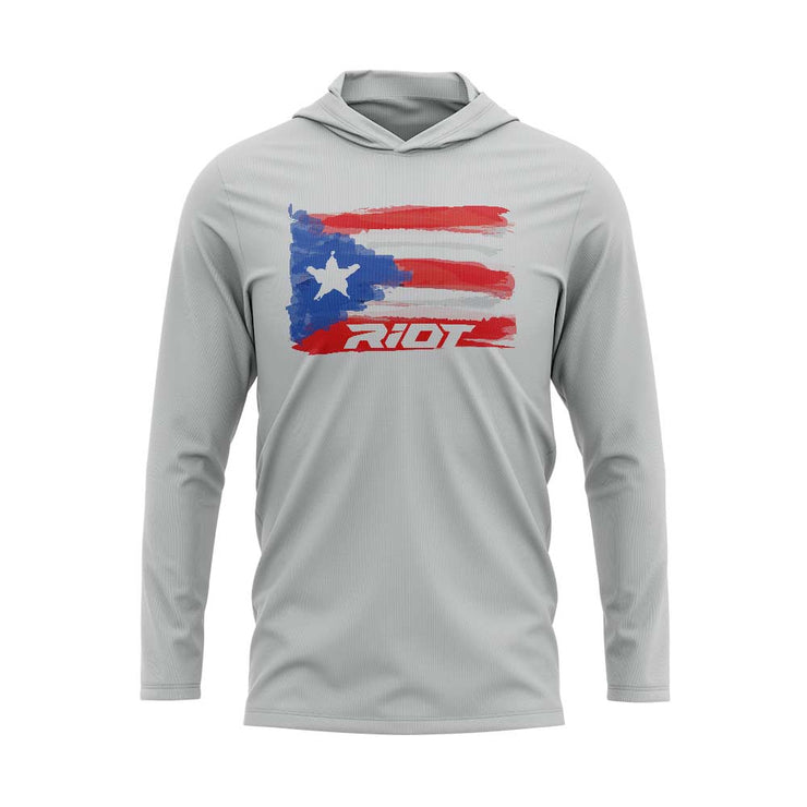 Silver Hooded Long Sleeve Shirt with Riot Puerto Rico Watercolor Logo