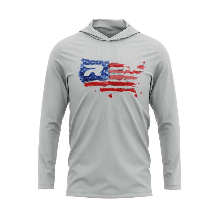 Silver Hooded Long Sleeve Shirt with Riot USA Watercolor Logo