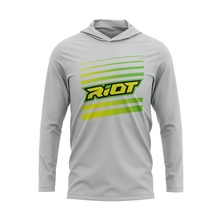 Yellow/Green Riot Striped Logo