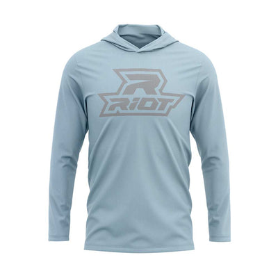 **NEW** Ice Blue Hooded Long Sleeve Shirt with Riot Logo - Choose your Logo