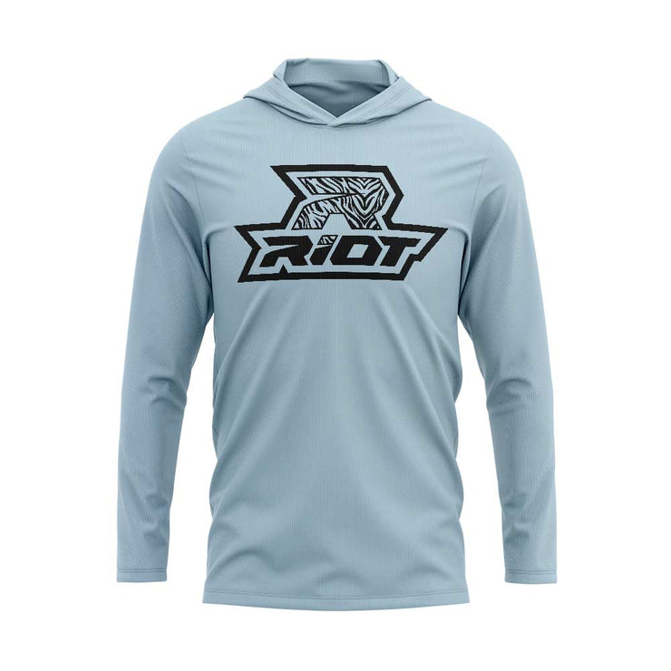 Ice Blue Hooded Long Sleeve Shirt with Riot Logo - Choose your Logo