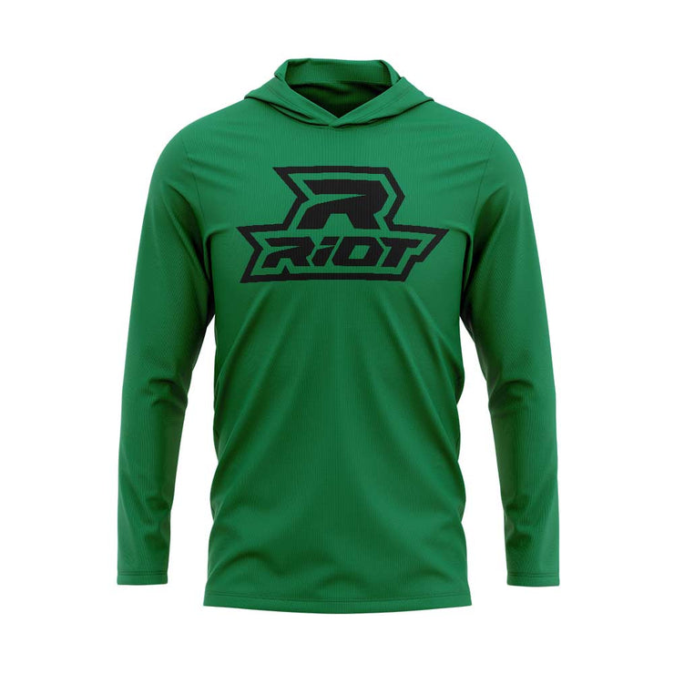 Kelly Green Hooded Long Sleeve Shirt with Black Riot Logo