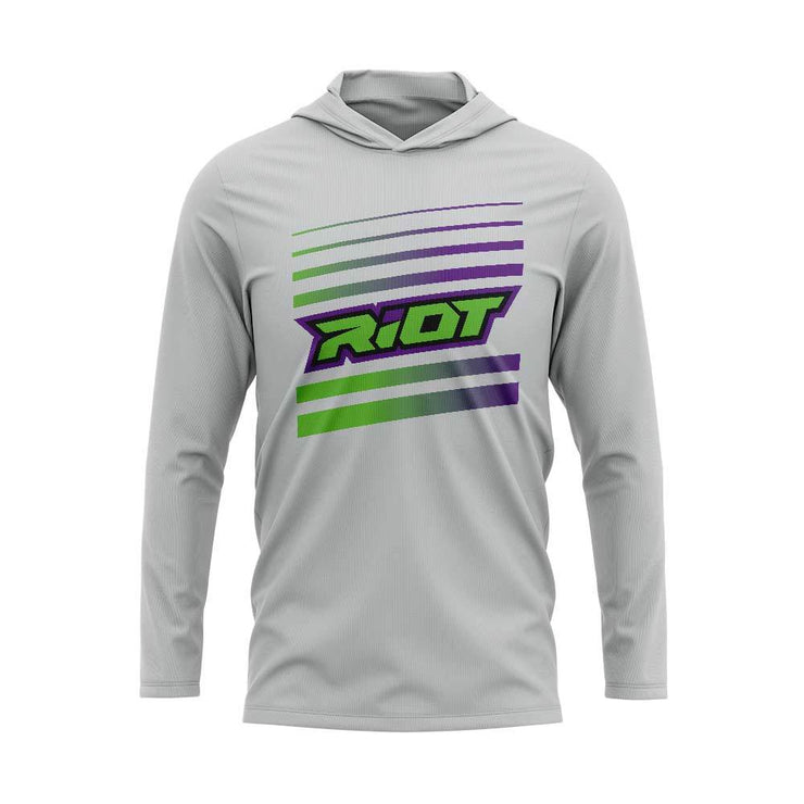 Purple/Lime Riot Striped Logo