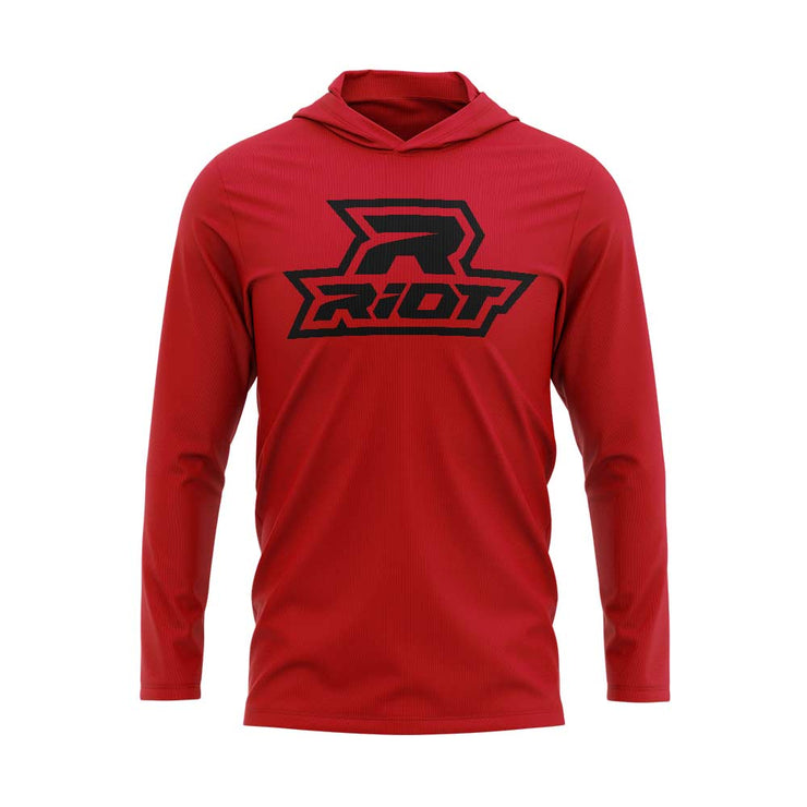 Red Hooded Long Sleeve Shirt with Black Riot Logo